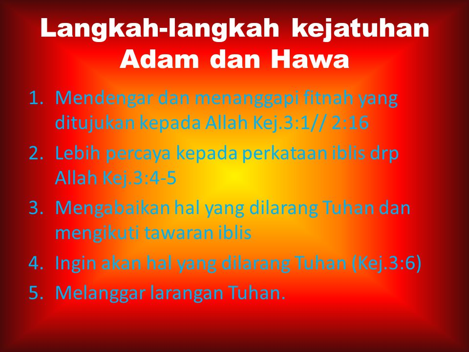 Langkah-langkah kejatuhan Adam dan Hawa