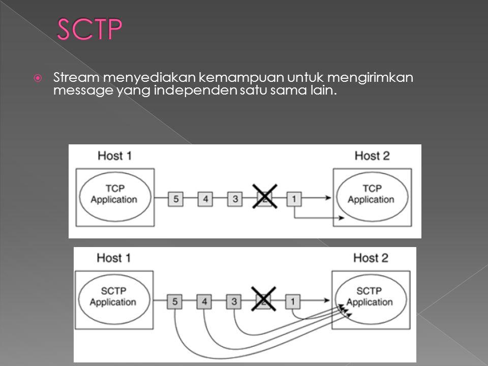 SCTP Stream menyediakan kemampuan untuk mengirimkan message yang independen satu sama lain.