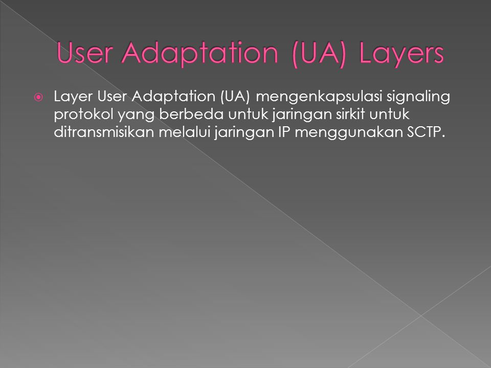 User Adaptation (UA) Layers