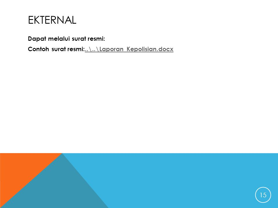 ekternal Dapat melalui surat resmi: Contoh surat resmi:..\..\Laporan Kepolisian.docx