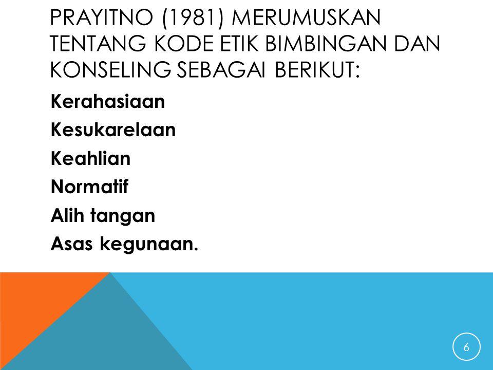Prayitno (1981) merumuskan tentang kode etik bimbingan dan konseling sebagai berikut: