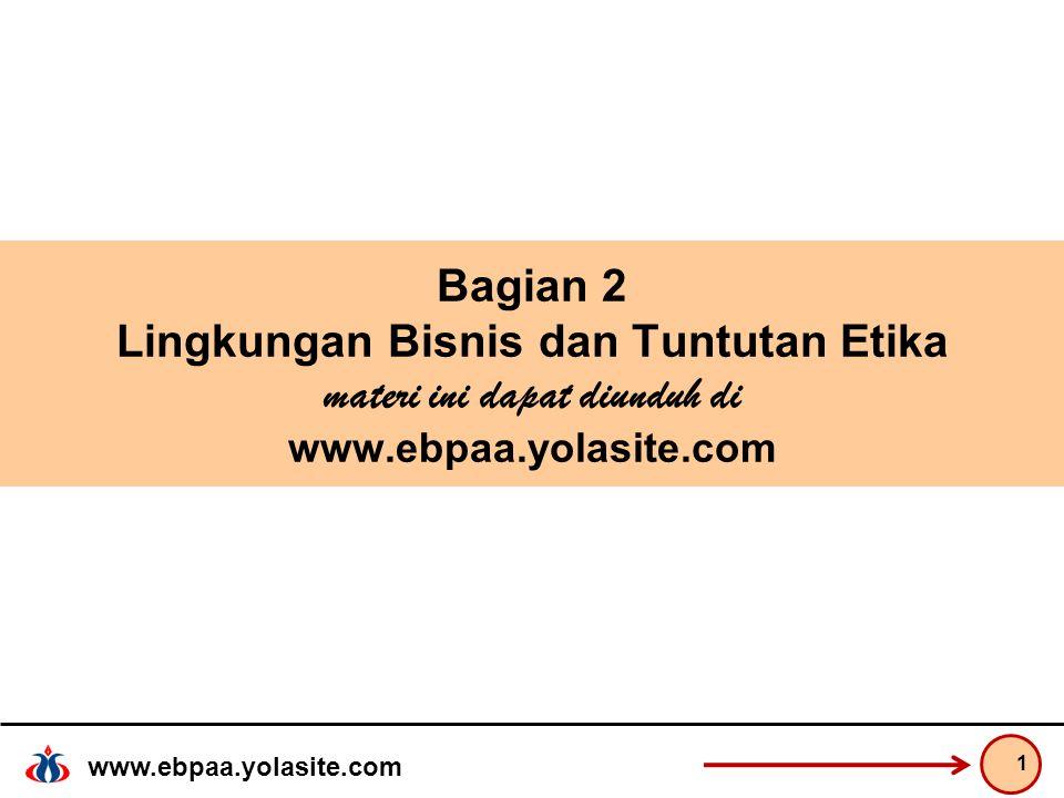 Bagian 2 Lingkungan Bisnis dan Tuntutan Etika materi ini dapat diunduh di www.ebpaa.yolasite.com