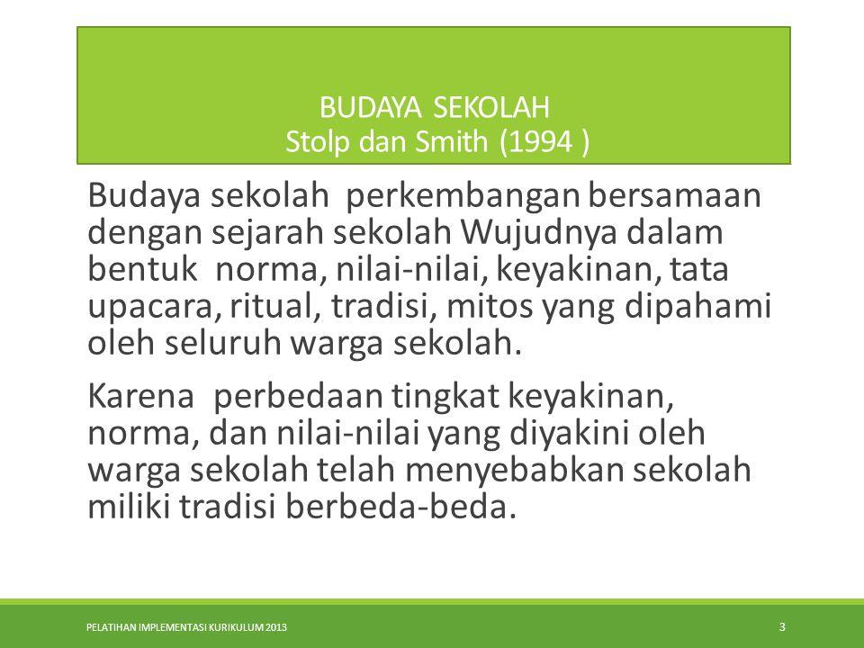 BUDAYA SEKOLAH Stolp dan Smith (1994 )