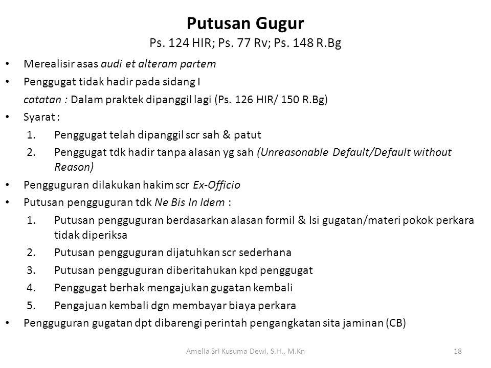 Putusan Gugur Ps. 124 HIR; Ps. 77 Rv; Ps. 148 R.Bg