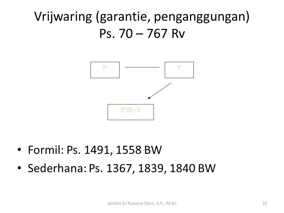Vrijwaring (garantie, penganggungan) Ps. 70 – 767 Rv
