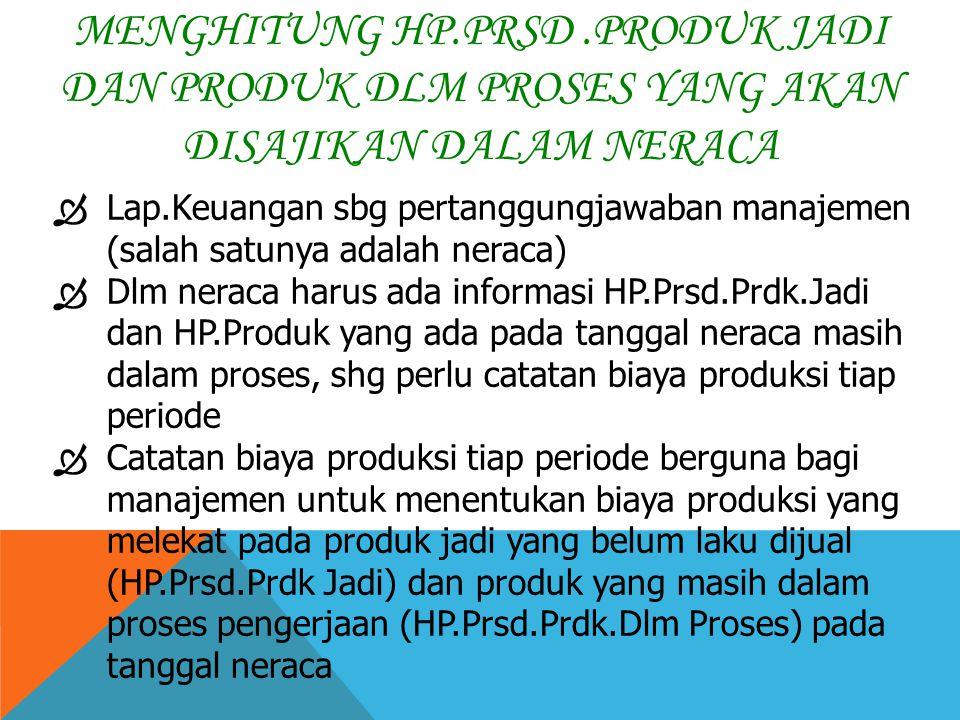 Menghitung HP.Prsd .Produk Jadi dan Produk dlm Proses yang akan disajikan dalam neraca
