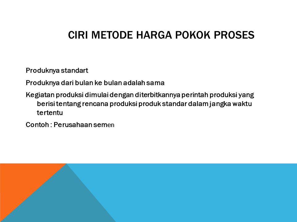 CIRI METODE HARGA POKOK PROSES