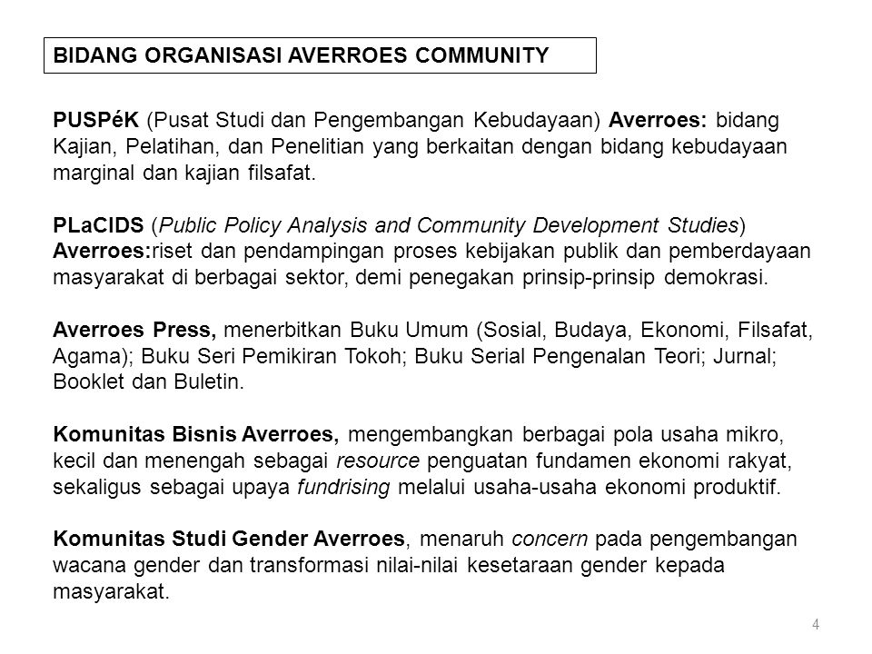BIDANG ORGANISASI AVERROES COMMUNITY