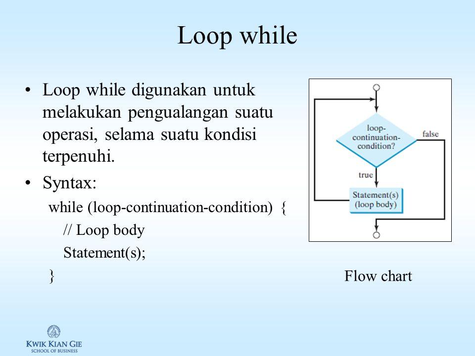 Loop while Loop while digunakan untuk melakukan pengualangan suatu operasi, selama suatu kondisi terpenuhi.