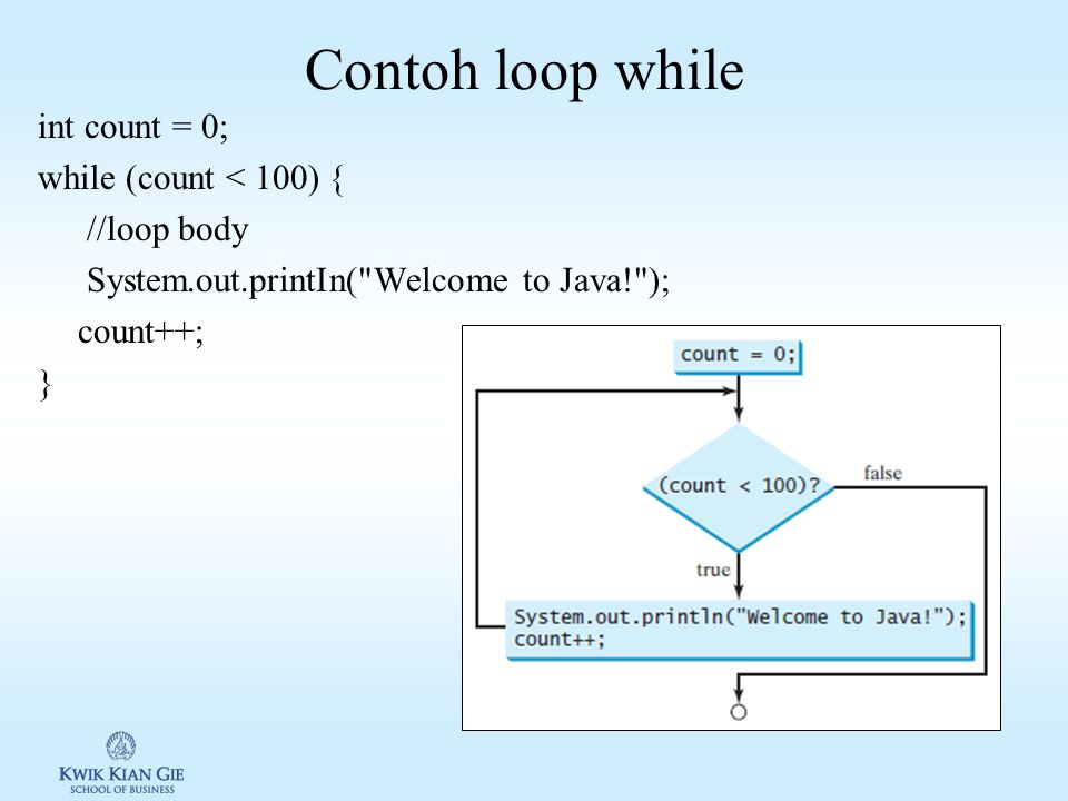 Contoh loop while int count = 0; while (count < 100) { //loop body