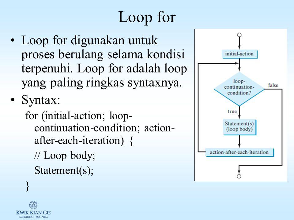 Loop for Loop for digunakan untuk proses berulang selama kondisi terpenuhi. Loop for adalah loop yang paling ringkas syntaxnya.