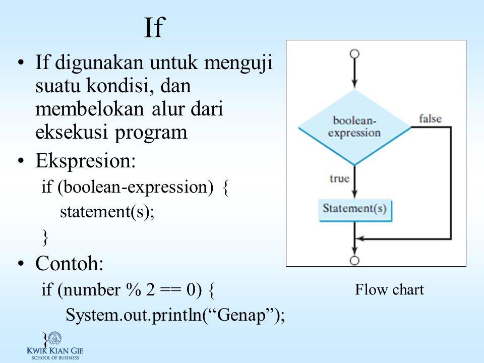 If If digunakan untuk menguji suatu kondisi, dan membelokan alur dari eksekusi program. Ekspresion: