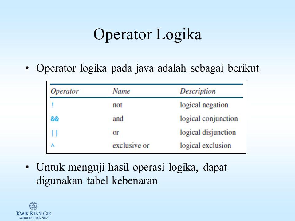 Operator Logika Operator logika pada java adalah sebagai berikut