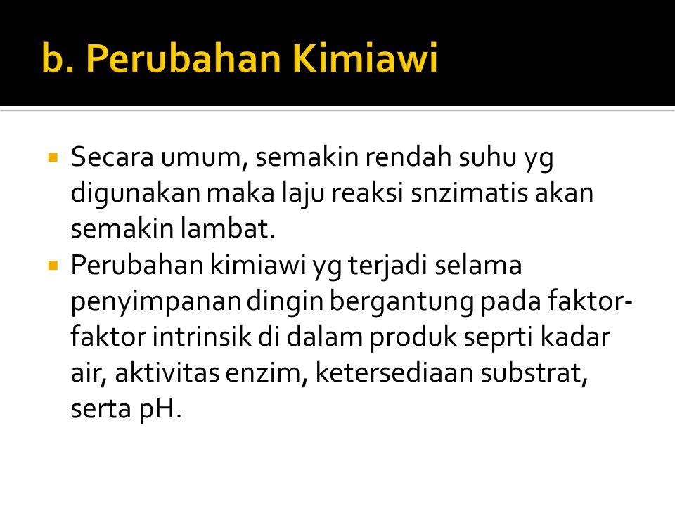 b. Perubahan Kimiawi Secara umum, semakin rendah suhu yg digunakan maka laju reaksi snzimatis akan semakin lambat.