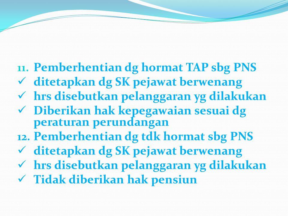 Pemberhentian dg hormat TAP sbg PNS