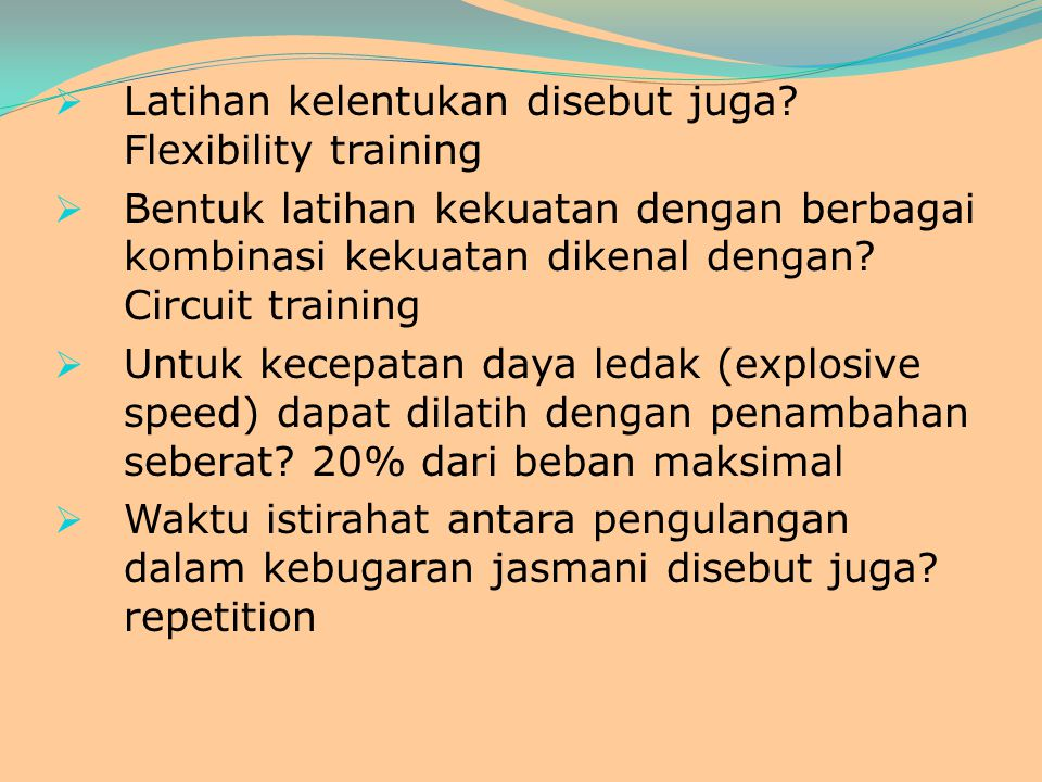 Latihan kelentukan disebut juga Flexibility training