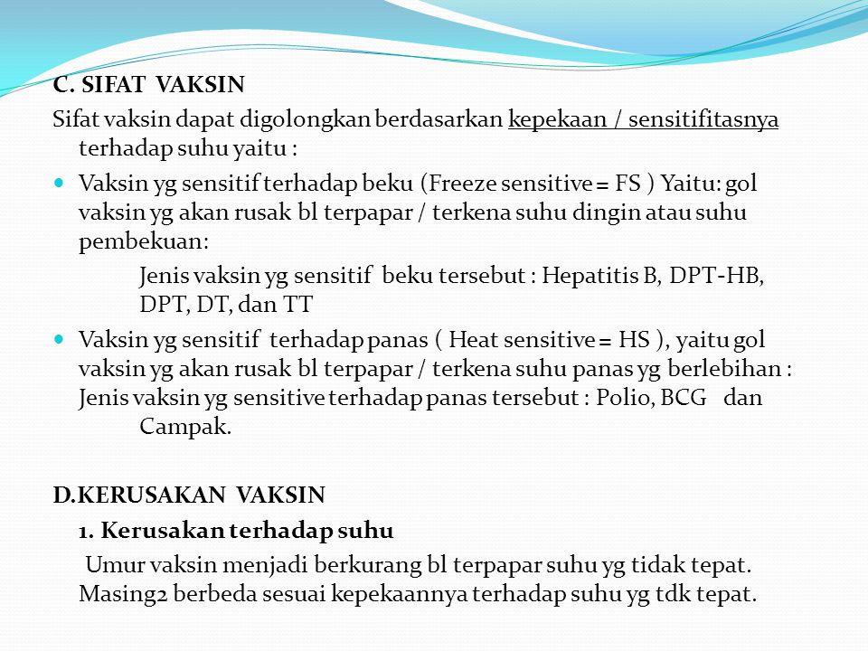 C. SIFAT VAKSIN Sifat vaksin dapat digolongkan berdasarkan kepekaan / sensitifitasnya terhadap suhu yaitu :