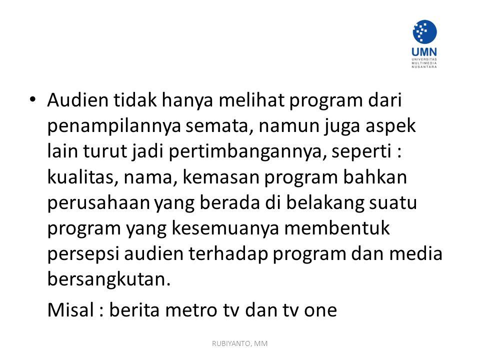 Misal : berita metro tv dan tv one