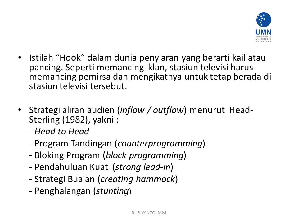 - Program Tandingan (counterprogramming)