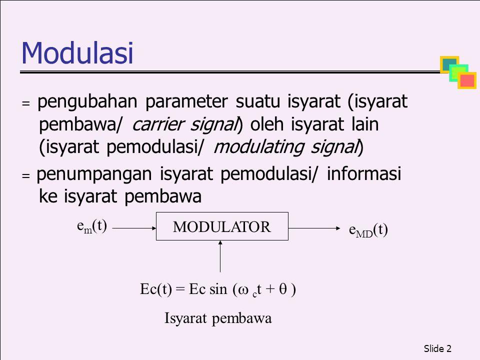 Modulasi em(t) MODULATOR eMD(t) Ec(t) = Ec sin ( ct +  )