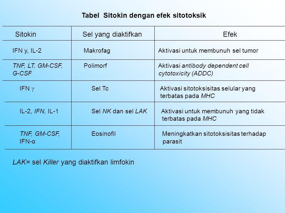 Tabel Sitokin dengan efek sitotoksik