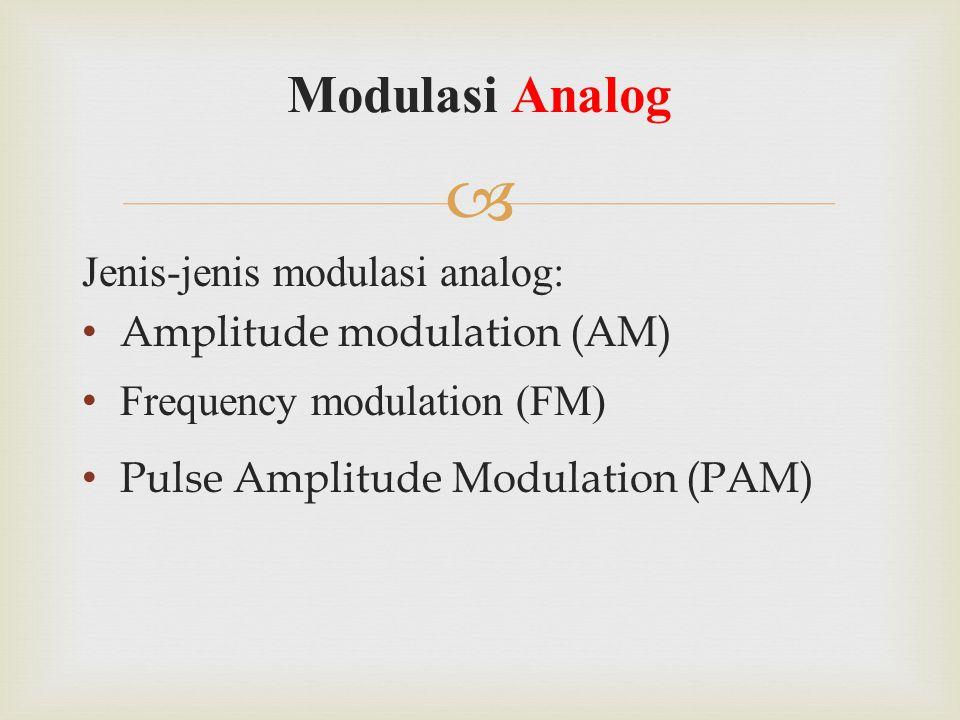 Modulasi Analog Jenis-jenis modulasi analog: Amplitude modulation (AM)