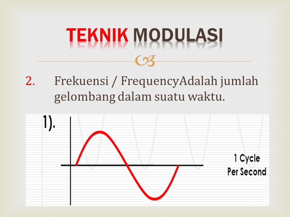Teknik Modulasi 2. Frekuensi / FrequencyAdalah jumlah gelombang dalam suatu waktu.