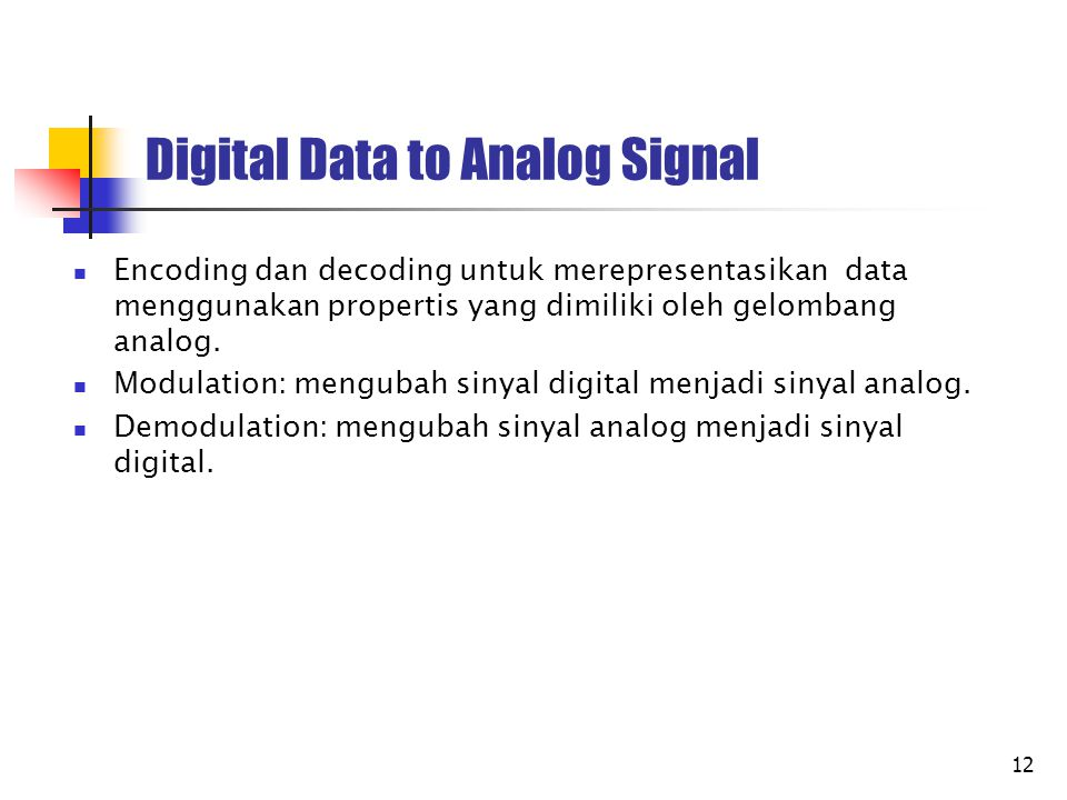 Digital Data to Analog Signal