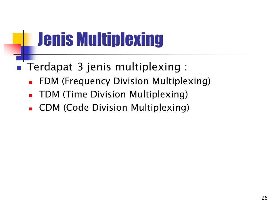 Jenis Multiplexing Terdapat 3 jenis multiplexing :