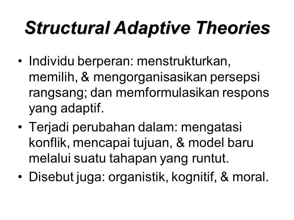 Structural Adaptive Theories