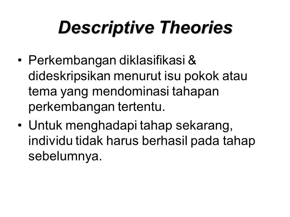 Descriptive Theories Perkembangan diklasifikasi & dideskripsikan menurut isu pokok atau tema yang mendominasi tahapan perkembangan tertentu.