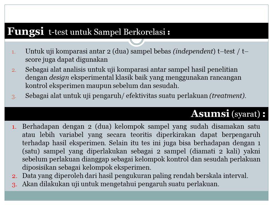 Fungsi t-test untuk Sampel Berkorelasi :