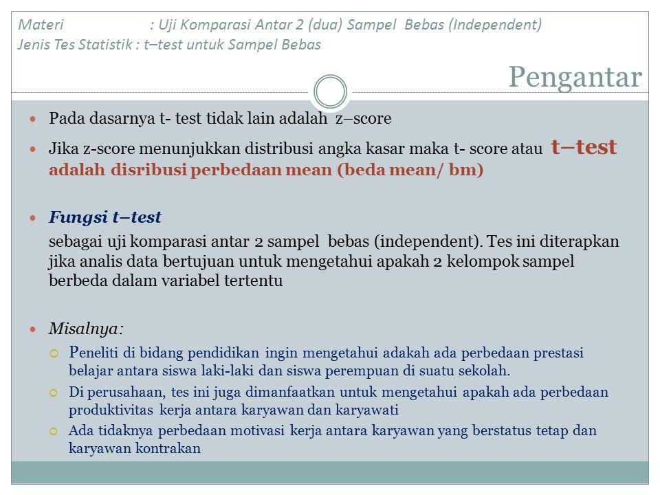 Materi : Uji Komparasi Antar 2 (dua) Sampel Bebas (Independent) Jenis Tes Statistik : t–test untuk Sampel Bebas
