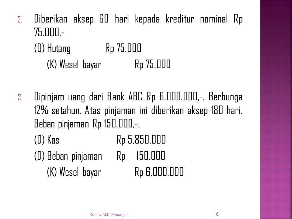 Diberikan aksep 60 hari kepada kreditur nominal Rp 75.000,-