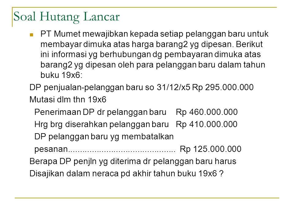 PT MUMET Uang muka penjualan, 31/12/19x5 Rp 295.000.000(K)