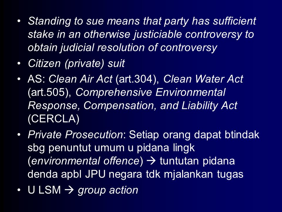 Standing to sue means that party has sufficient stake in an otherwise justiciable controversy to obtain judicial resolution of controversy
