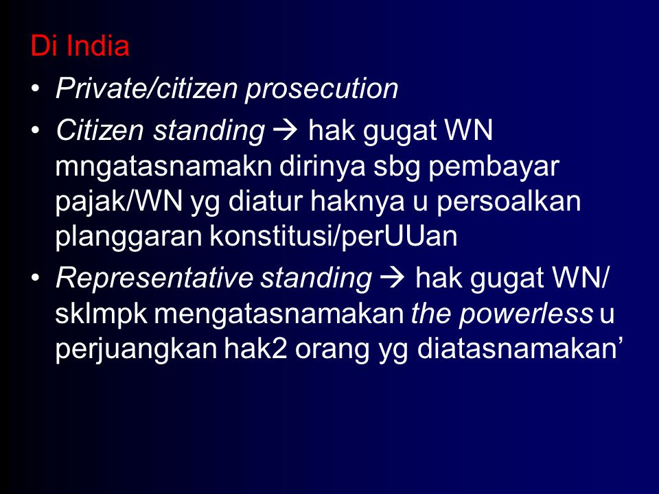 Di India Private/citizen prosecution.