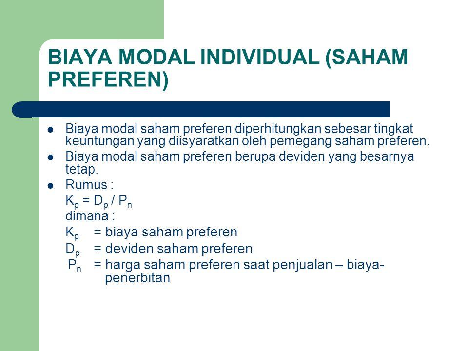 BIAYA MODAL INDIVIDUAL (SAHAM PREFEREN)
