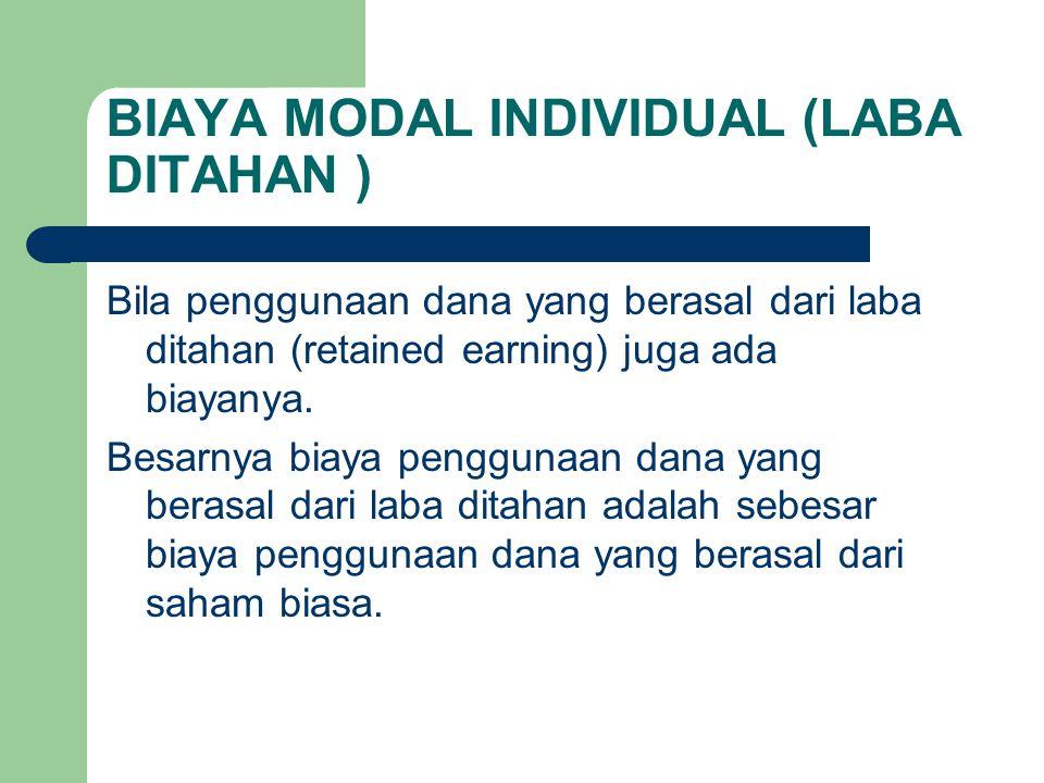BIAYA MODAL INDIVIDUAL (LABA DITAHAN )