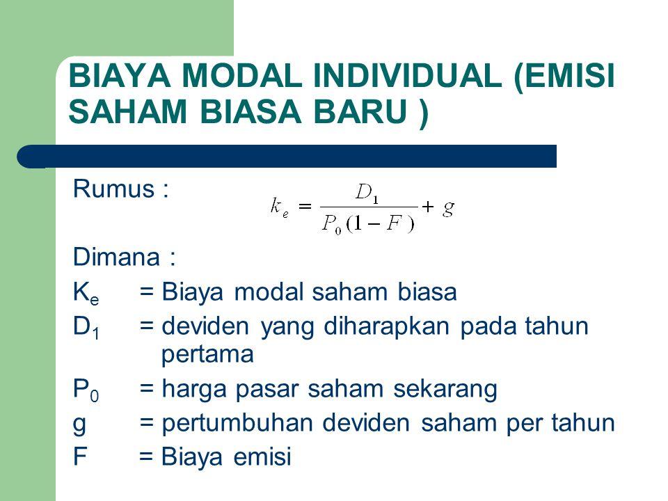 BIAYA MODAL INDIVIDUAL (EMISI SAHAM BIASA BARU )