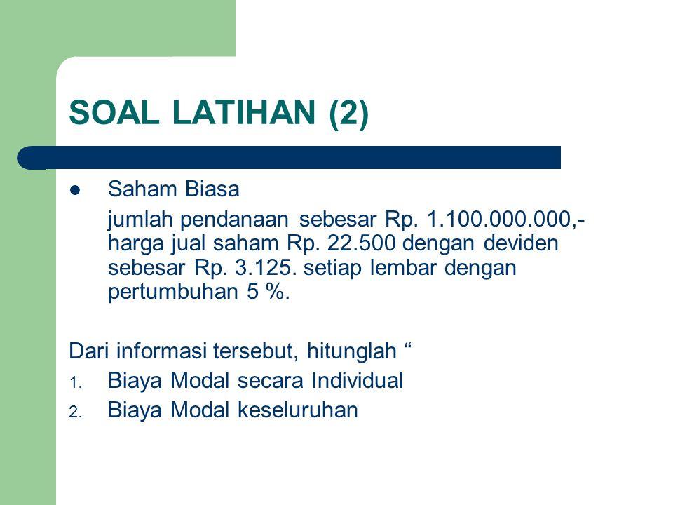 SOAL LATIHAN (2) Saham Biasa