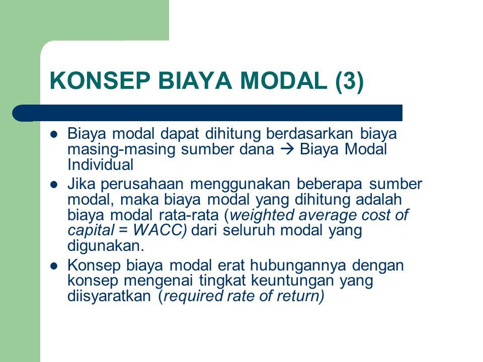 KONSEP BIAYA MODAL (3) Biaya modal dapat dihitung berdasarkan biaya masing-masing sumber dana  Biaya Modal Individual.