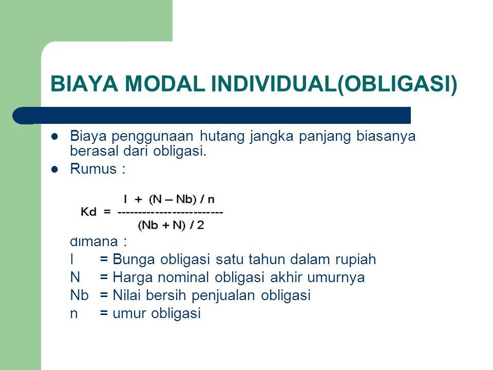 BIAYA MODAL INDIVIDUAL(OBLIGASI)
