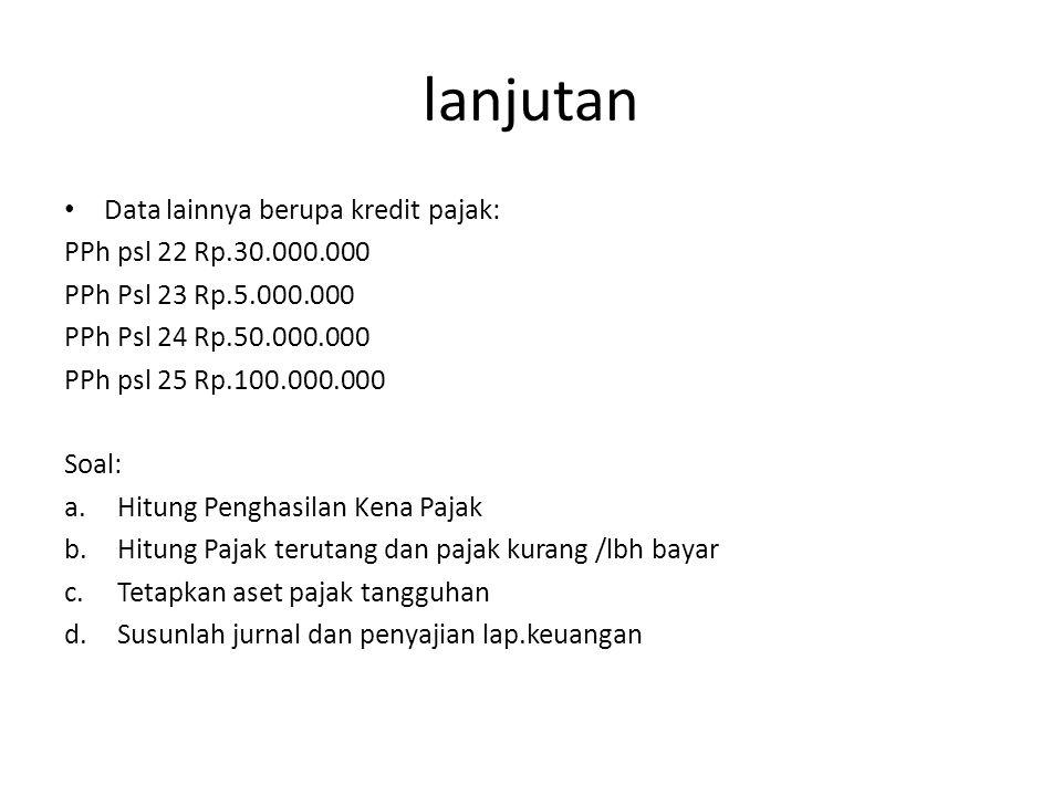 lanjutan Data lainnya berupa kredit pajak: PPh psl 22 Rp.30.000.000