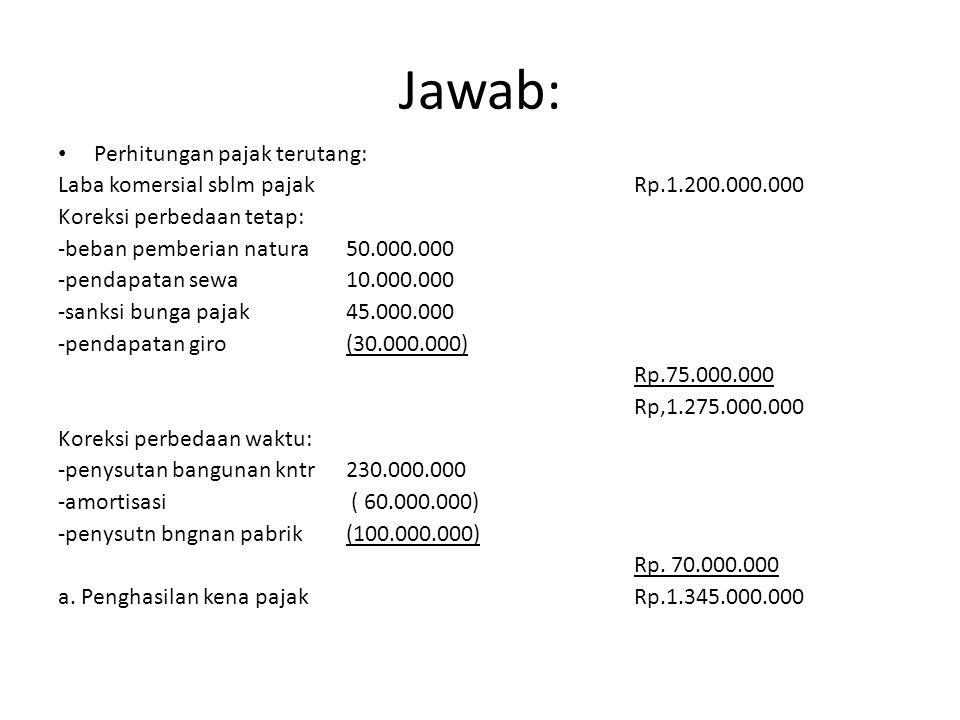 Jawab: Perhitungan pajak terutang: