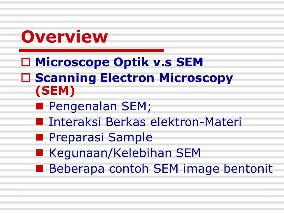 Overview Microscope Optik v.s SEM Scanning Electron Microscopy (SEM)