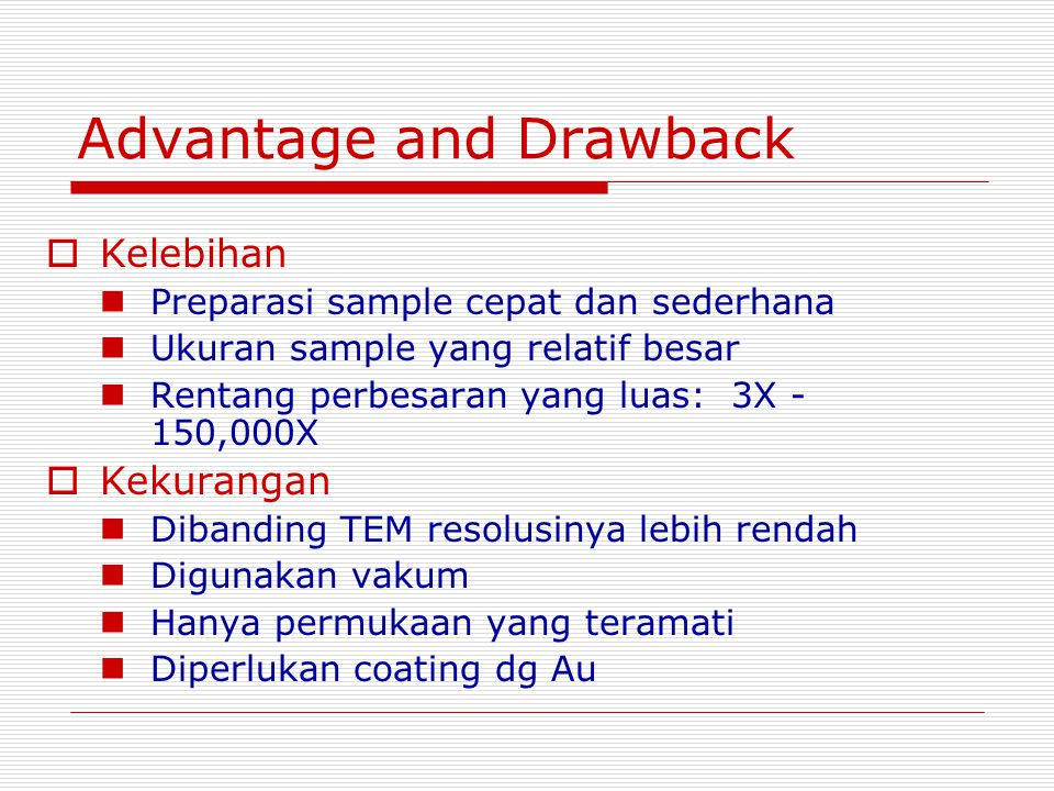 Advantage and Drawback