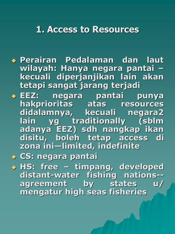 1. Access to Resources Perairan Pedalaman dan laut wilayah: Hanya negara pantai – kecuali diperjanjikan lain akan tetapi sangat jarang terjadi.