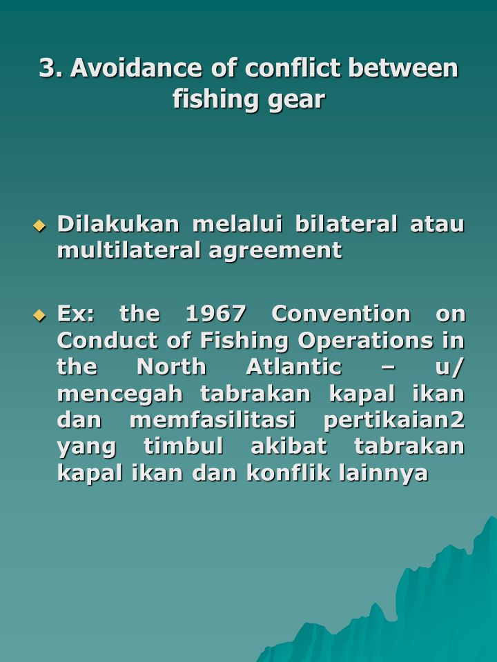 3. Avoidance of conflict between fishing gear