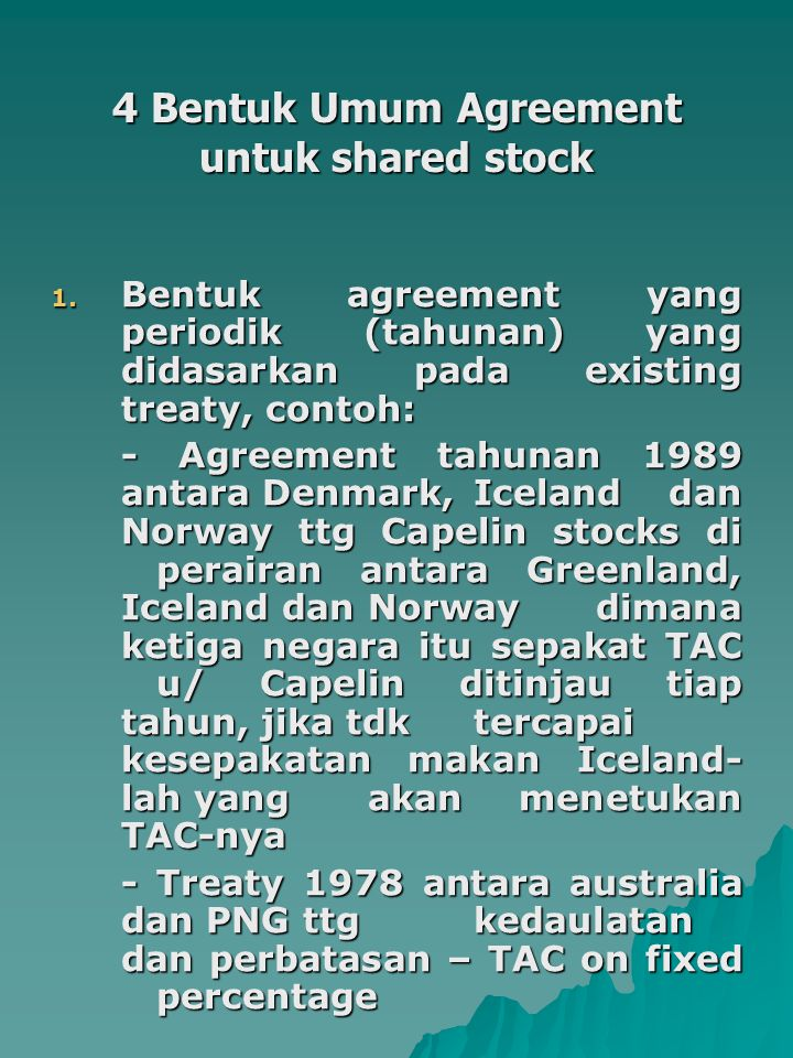 4 Bentuk Umum Agreement untuk shared stock